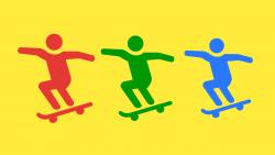 teenagers on skateboards